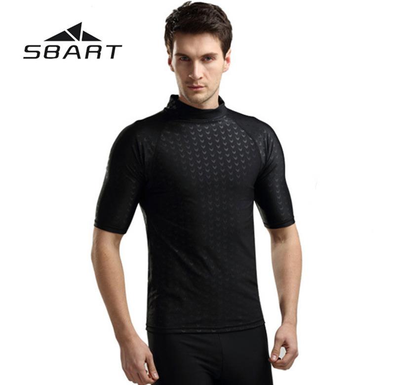 SBART Professional Surfing Windsurf Swimming Short Sleeve T-Shirts Tops Swimwear Men's Sharkskin Diving Suit Swimsuit Wetsuit(China (Mainland))