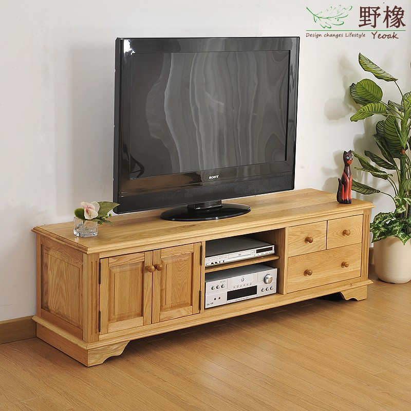 Wild oak tv03 white oak wood cabinet tv cabinet modern - White wooden living room furniture ...