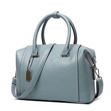 Buy Genuine Leather Women's Boston Bag 2017 New European Boston Handbag Solid Color Cowhide Women Messenger Bag sac main C40-391 for $23.54 in AliExpress store