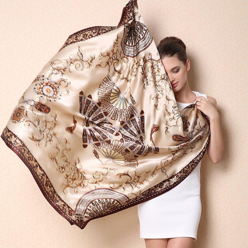 2016 Women 100% Mulberry Silk Beach Cover-ups Big Square Scarf Spring Autumn Female Genuine Silk Scarves Printed Summer Shawls(China (Mainland))