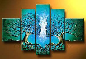 100% Hand-painted Oil Wall Art Blue Tree Human Body Home Decoration Landscape Oil Painting on Canvas cuadros pared grandes 5pcs(China (Mainland))