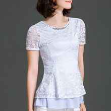 New Women Summer Casual Basic Lace Chiffon Blouse Floral Top Shirt Bead Embroidery Patchwork Hollow out Short Sleeves Plus Size