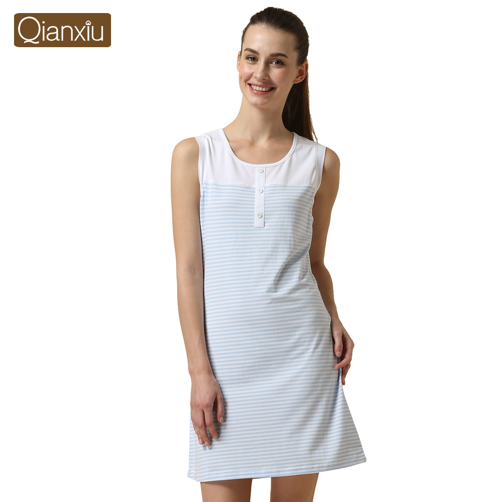 Qianxiu Cotton Pajamas Summer Coulp Lounge Wear Men short-sleeve Pajama Set Women sleeveless one-piece Nightgown Free Shipping(China (Mainland))