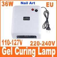 36W 220V/110-127V Gel Curing Nail Art UV Lamp + 9W UV Light Bulb , Free Shipping, Dropshipping