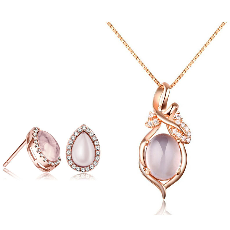 Gemstone 100% 925 Silver Jewelry Sets Natural Pink Ross Quartz Rose Set for Women Top Quality  Free Shipping<br><br>Aliexpress