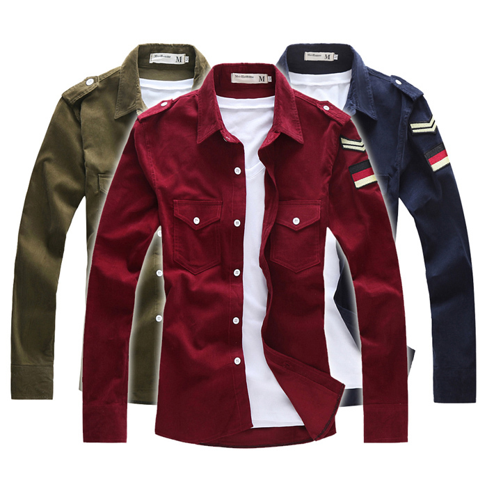 Corduroy embroidered logo all-match long-sleeve shirt military shirt best brand checked dress shirts for men designer#W0053(China (Mainland))