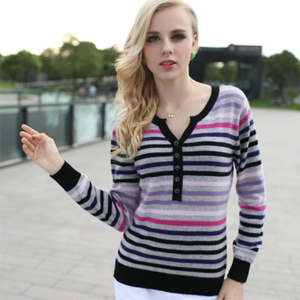 Women Ladies Long Sleeve Colorful Striped V-neck Button Tops Knitting Sweater Cardigans Outerwear,M L XL CashmereОдежда и ак�е��уары<br><br><br>Aliexpress