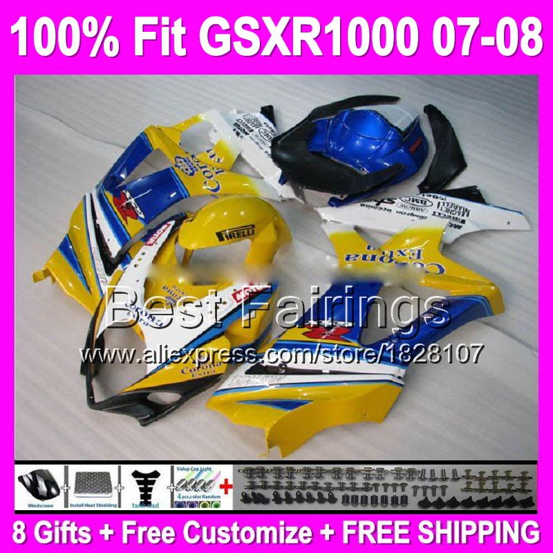 7 Free gifts CORONA OEM For SUZUKI K7 07 08 GSX R1000 Yellow blue GSXR 1000 GSX-R1000 K7 893 GSXR1000 2007 2008 Fairing(China (Mainland))