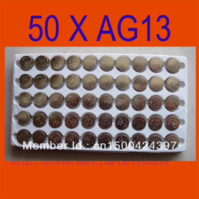 50PCS AG13 Button Cell Batteries AG 13 G13 LR44 A76 N ship by air mail(China (Mainland))