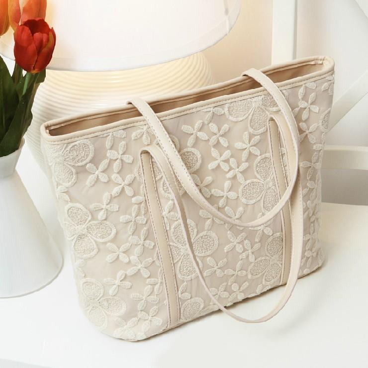 2016 Lace Flower crochet big bag all-match casual Cheap messenger bags Women Handbag(China (Mainland))