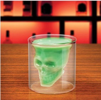 Free shipping double wall glass cup vodka cup vacuum cup crystal skull glass cup with pirate & death head design, GetUBacK#H0109