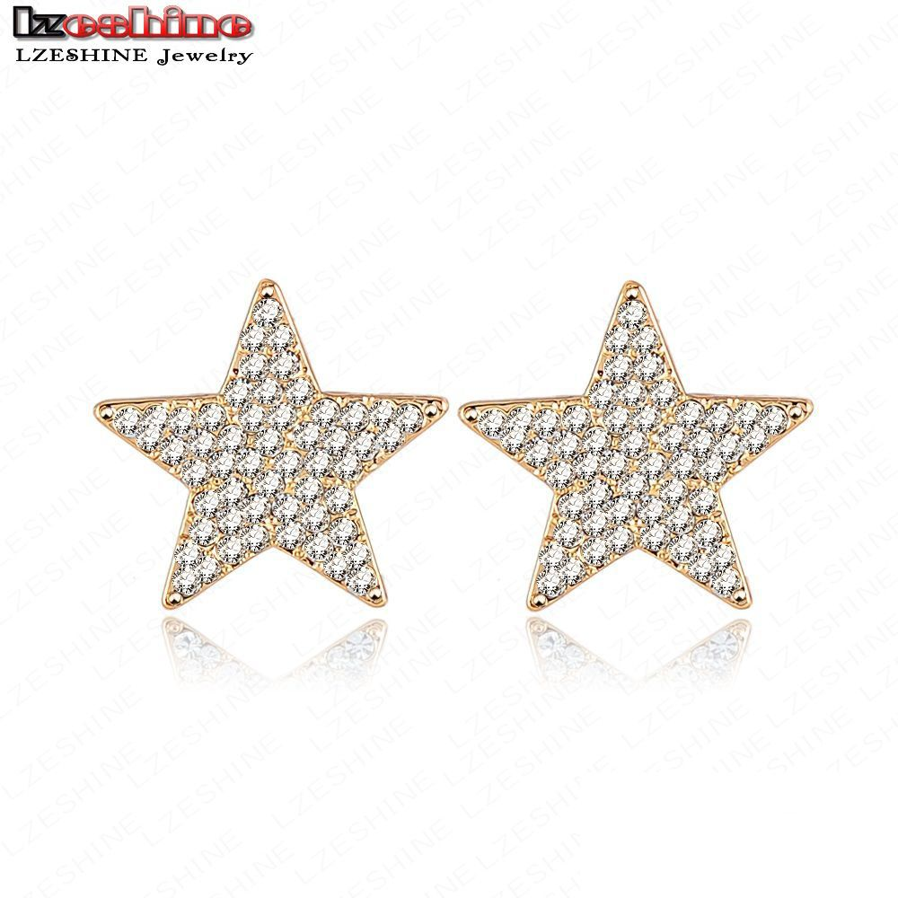 LZESHINE Latest Gold Plate Austrian Crystal Star Earring Women Earrings Studs Jewelry 21*21mm ER0020-C(China (Mainland))