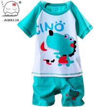 100% Cotton Baby Boys Girls Clothing Set Children Shirt + Pants Set Kids Cartoon Clothes Casual Suits 5 Design 2015 Summer(China (Mainland))