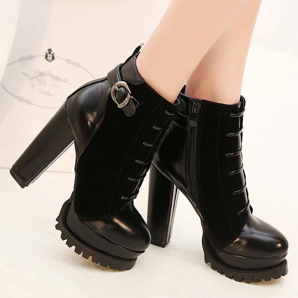 2014 spring fashion thick heels platform high-heeled shoes Patchwork women ankle boots round toe zipper vintage Ladies pumps <br><br>Aliexpress