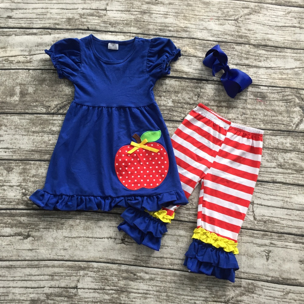 2016 Summer back to school outfit girls cute clothes royal blue apple kids clothing stripes capri set baby with matching bow