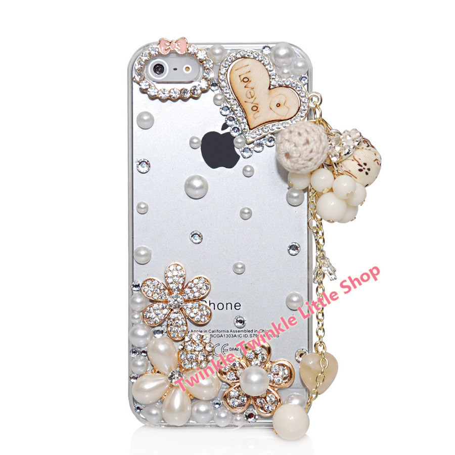 Romantic Crystal Diamond Hard Back 3D Bling Heart Rhinestone I Love You Phone Cases For iphone 5s case For iphone 5c case(China (Mainland))
