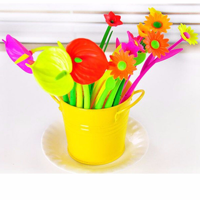 12 Pieces Flower Grass Gel Pens School Office Table Decorations Writing Pens New Fashion Sign Pen Stationery Material Escolar
