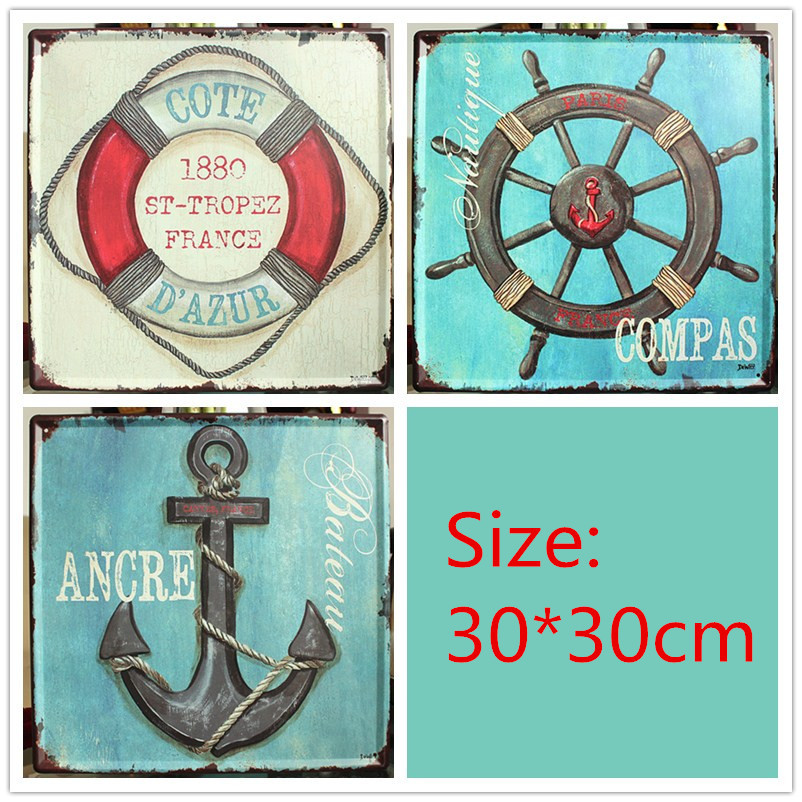 Set of 3 mediterranean style metal sign plaque nautical for Plaque metal deco pour mur