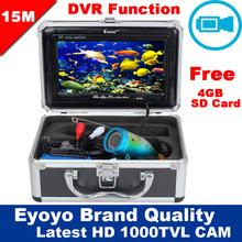 "Free Shipping!Eyoyo Original 15M 1000TVL HD CAM Professional Fish Finder Underwater Fishing Video Recorder DVR 7"" Color Monitor(China (Mainland))"