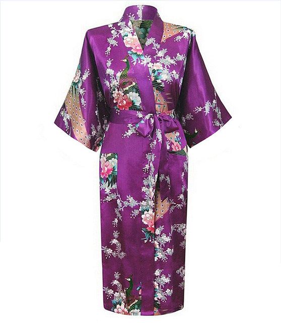 Горячие Продажи Фиолетовый Pijama Mujer Китайских женщин Одеяние Кимоно Ванна Платье ...