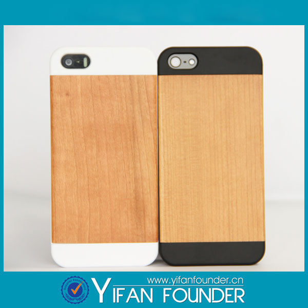 1 piece only wholesale half bamboo wood and pc back cover design real genuine wood case for iphone 5 5s 4 4s 6 6plus(China (Mainland))