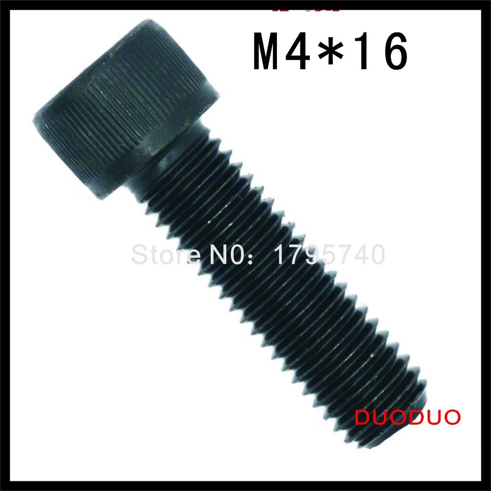 50pc DIN912 M4 x 16 Grade 12.9 Alloy Steel Screw Black Full Thread Hexagon Hex Socket Head Cap Screws<br><br>Aliexpress