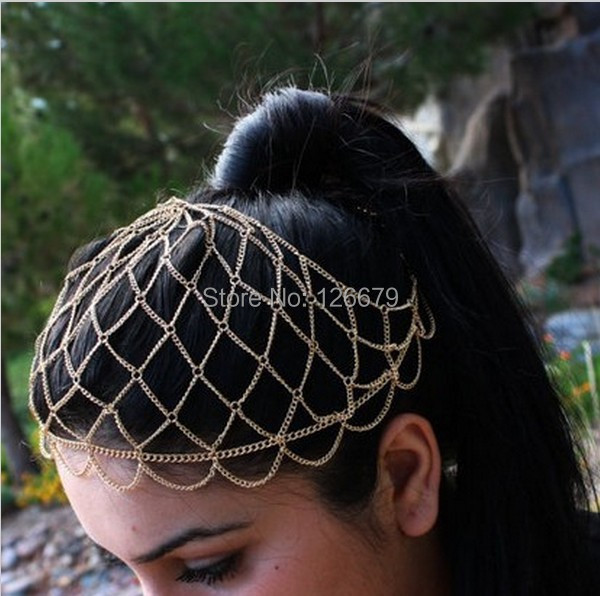 2015 New Fashion Gold Charming Mesh Nets Head Chain Pieces Hair Jewelry Hairband Headdress Bridal Jewelry(China (Mainland))