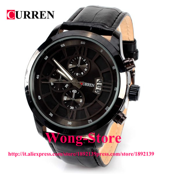 8137 Men Quartz Calendar Watch 4 Rome Numbers and Strips Indicate Round Dial Leather Watchband<br><br>Aliexpress