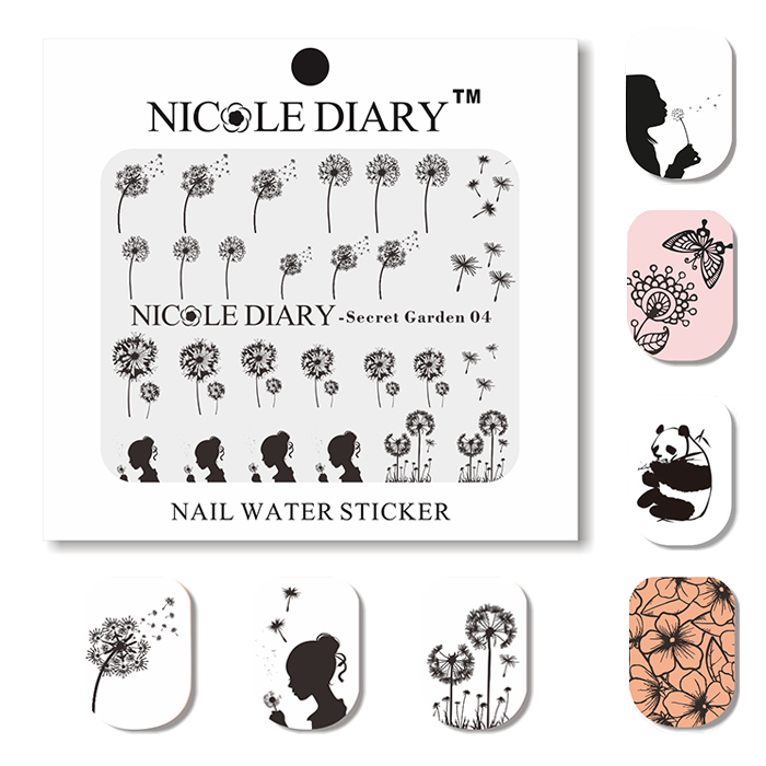 NICOLE DIARY Nail Art Water Decals Animals and Plants Stickers Design Tips Decoration Nail Art Water Tattoo 31205(China (Mainland))