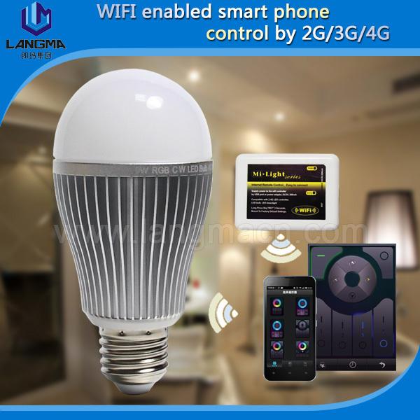 Langma smart wifi led bulb mobile control 9w e27 b22 e26 aluminum housing pure white led light lamp radio control(China (Mainland))
