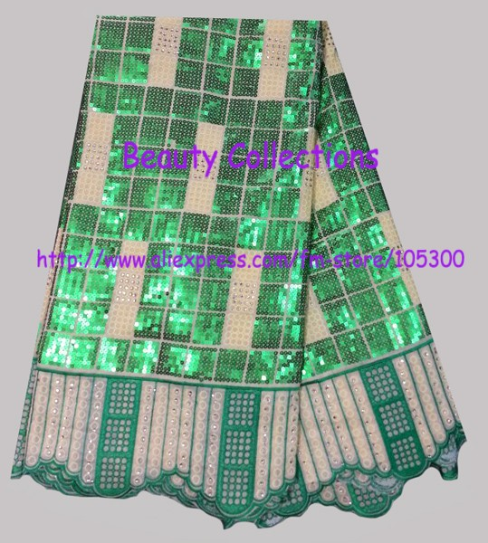 Free Shipping for african swiss voile lace with many sequins and stones BCL01102 green fashion design retail/wholesale(China (Mainland))