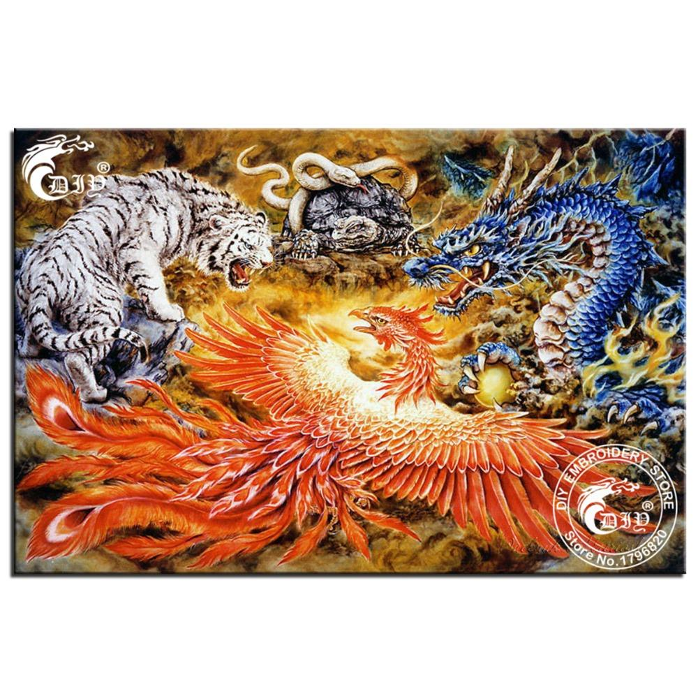 5D diy diamond embroidery dragon phoenix tiger snake picture diamond painting cross stitch mosaic painting wall sticker beadwork(China (Mainland))