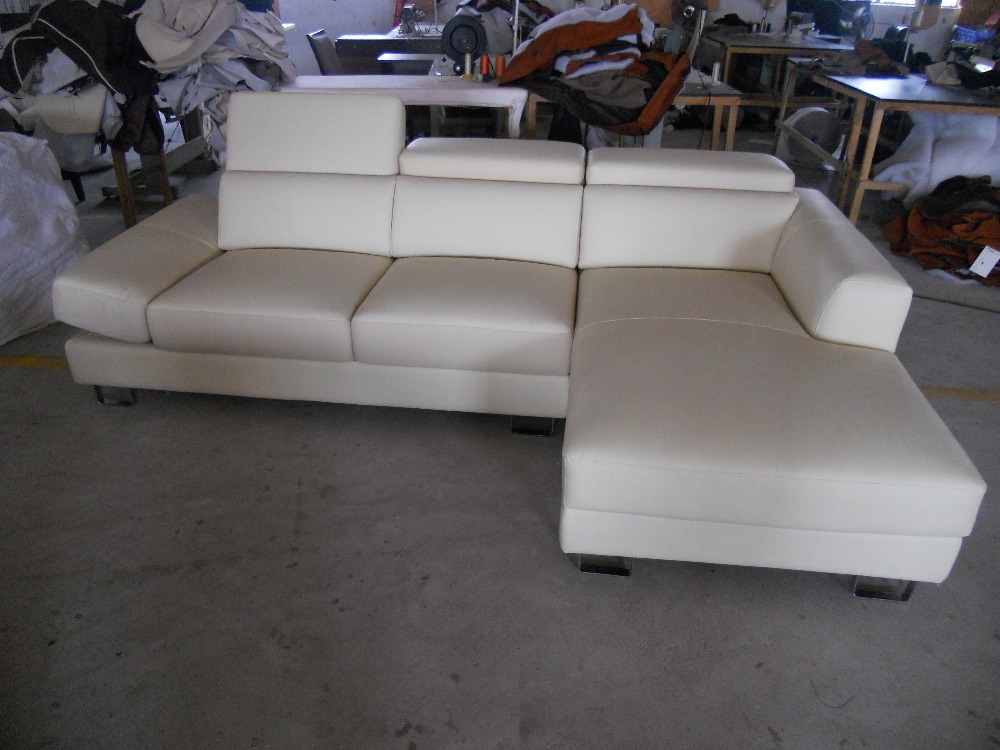 modern latest novel home beige corner elephant cow leather couch sofa living room furniture#8271(China (Mainland))