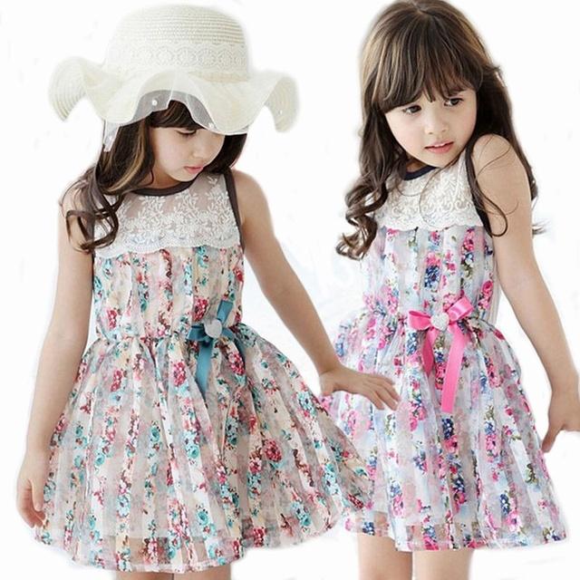 Розничная летом 2016 майка платья дети девушка малыша цветок печать платье цветочные ну вечеринку платье