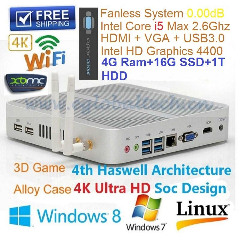 2014 New Greenest Mini ITX Computer I5 With 4GB Ram 16GB SSD 1TB HDD Support Linux Windows XBMC 3D Game USB3.0 Thin Client UMPC(China (Mainland))