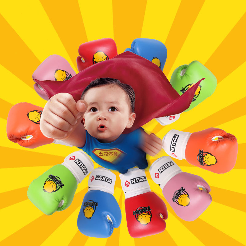 Free Shipping Kids Children Cartoon Sparring MMA Kick Fight Boxing Gloves Red Training Age5-12(China (Mainland))
