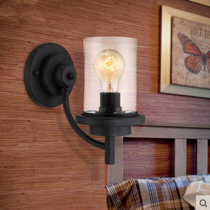 Creative American Country Iron Glass Wall Lamp Vintage Industrial Bedside Light For Balcony Aisle Restaurant Lamparas De Pared<br><br>Aliexpress