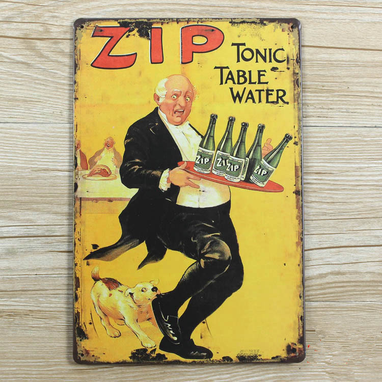 """Metal Tin plate """"Zip table water"""" signs vintage house bar coffee decor poster wall art decoration metal painting 20*30 CM(China (Mainland))"""