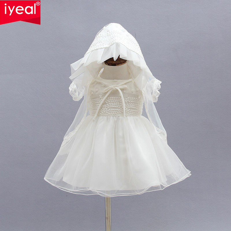 Newborn Christening Gown Party Wedding Dress with Bonnet and Cape Elegant Baptism Dresses for 1 year girl baby birthday3PCS/Set(China (Mainland))