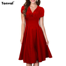 Tonval Women Audrey Hepburn Vintage Dress Summer Ruffle Ruched V Neck Sexy Evening Party Elegant 1950s Rockabilly Swing Dresses(China (Mainland))