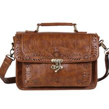 Женская браун старинные кожаный портфель роскошные женщины документ портфель прочный исполнительный портфель небольшой адвокат почтальон