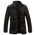 Men s Washed Leather Jacket Coat Thicken Winter Fleece Locomotive Jacket Casual Outwear Belt Long Section