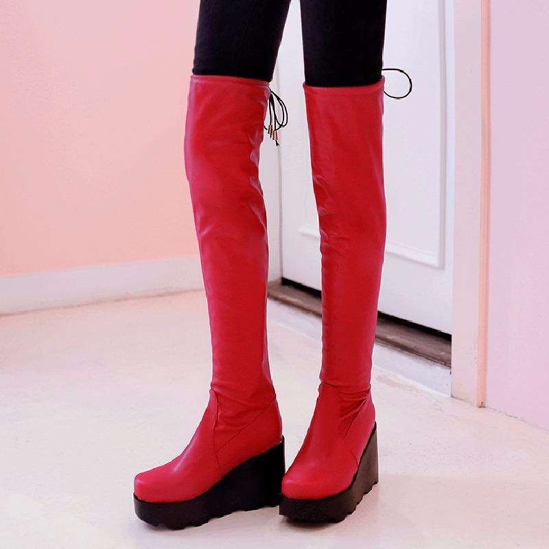 2016 Wedges Platform Thigh High Boots Women Add Fur Fashion Winter Boots Add Thick Fur Keep Warm Thick Sole Shoes Woman