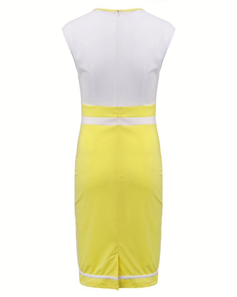 Fashion Workwear 2016 Summer Women Sleeveless O-Neck Work Bodycon Dress Sexy Office Ladies Pencil Dresses Vestidos