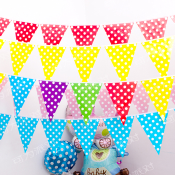 2.5 Meter Colorful Polka Dot Paper Banners Flags Backdrop Decorations for Birthday Party Wedding New Year Christmas