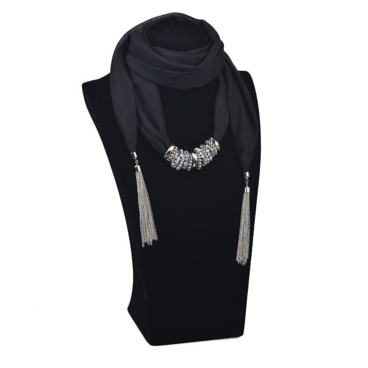 Hot Sale Fashion Women Black Tassel Floral Jewelry Pendant Scarf Necklace Lady Cotton Necklaces Scarves Wholesale (SC150052)(China (Mainland))