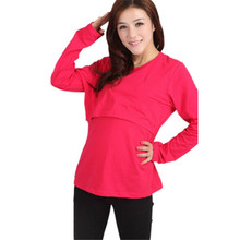 Pregnant Women Tops Maternity Clothes Nursing Long Sleeve O Neck T shirt(China (Mainland))