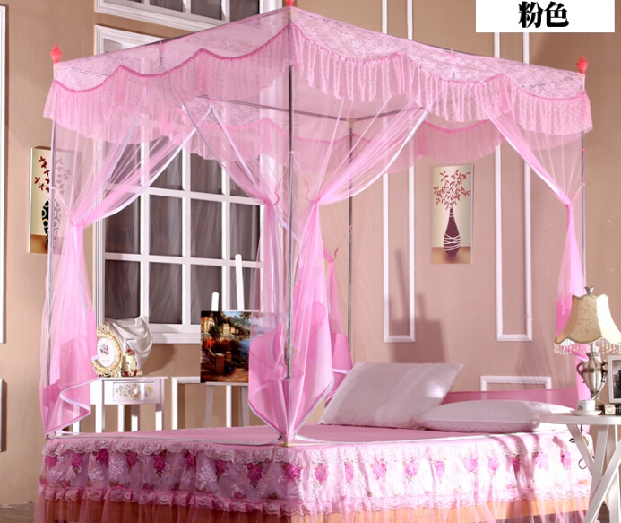 High quality mosquito net bed canopy curtains palace mosquito net three-door luxury bed canopy with stainless steel frame(China (Mainland))