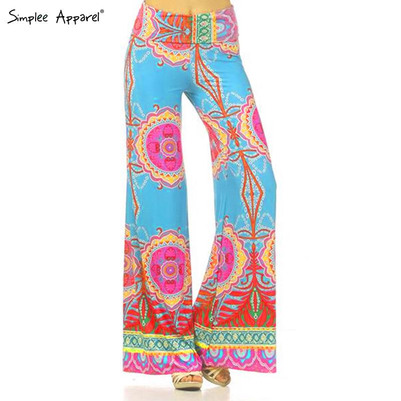 Simplee apparel Exuma Palazzo pants female boho elastic high waist flare pants baggy Women casual loose preppy trousers summer(China (Mainland))
