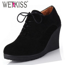 2016 New High Heel Wedges Shoes Platform Pumps for Women Lace up Casual Shoes Sexy Women Shoes Fall Spring Pumps Rubber Shoes(China (Mainland))